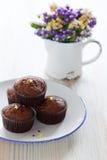 De banaanmuffins van de chocolade royalty-vrije stock afbeelding
