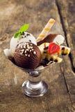 De banaanspleet van de chocolade en van de vanille Royalty-vrije Stock Foto's