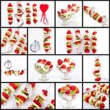 De bananen van het dessertfruit, aardbeien, kiwi Royalty-vrije Stock Foto's
