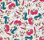 De band naadloos patroon van de kattenmuziek Stock Afbeeldingen