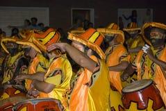 De band van Carnaval in Montevideo, Uruguay, 2008. Stock Afbeeldingen