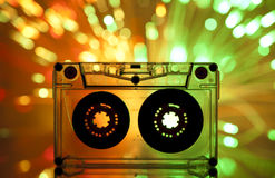 De band van de cassette en multicolored lichten Stock Foto
