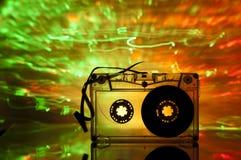 De band van de cassette en multicolored lichten Stock Afbeelding