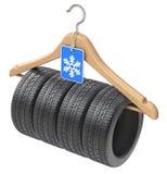 De band van de de winterauto op houten hanger Stock Foto