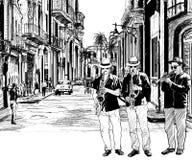 De band van de jazz in Cuba vector illustratie
