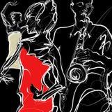De band van de jazz met dansers Royalty-vrije Stock Afbeeldingen
