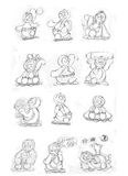 De band van de mascottepinguïn, schetsen en potloodschetsen en krabbels Royalty-vrije Stock Afbeeldingen
