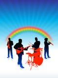 De band van de muziek op regenboogInternet achtergrond Royalty-vrije Stock Afbeeldingen