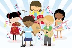 De band van de muziek van vier kleine jonge geitjes Stock Foto's