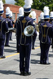De band van de school bij parade Stock Foto's