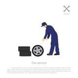 De banddienst Werktuigkundige die een autowiel veranderen Reparatie en onderhoud Voertuigworkshop royalty-vrije illustratie