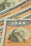 De Banden van de Besparingen van vijftig Dollars Royalty-vrije Stock Foto's