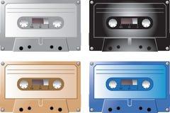 De banden van de cassette in diverse kleuren Stock Foto's