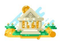 De bank abstracte bouw met gouden muntstuk in opslag vector illustratie