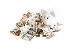De bank & het geld van Biggy Stock Fotografie