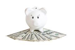 De bank & het geld van Biggy Stock Afbeelding