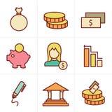 De bank van de pictogrammenstijl Stock Foto's