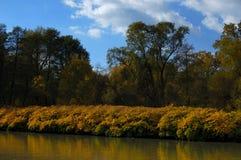 De bank van de rivier in de herfst royalty-vrije stock foto's