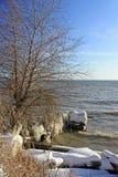 De bank van de rivier in de winter. stock foto