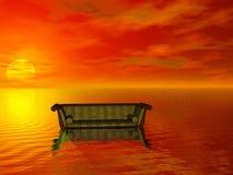 De bank van de zonsondergang Stock Foto