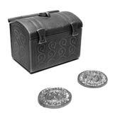 De bank van het muntstuk en een paar muntstukken royalty-vrije stock afbeelding