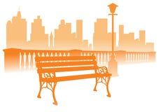 De bank van het park op de stadsachtergrond stock illustratie
