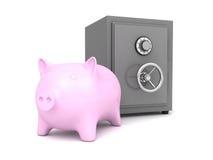De bank van het Piggygeld met brandkast op witte achtergrond Stock Fotografie