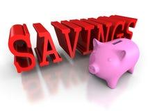 De bank van het Piggymuntstuk met rood BESPARINGENwoord Bedrijfs concept Royalty-vrije Stock Afbeelding
