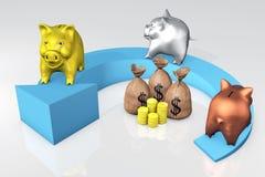 De bank van Piggies op de pijl Royalty-vrije Stock Fotografie