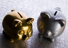 De bank van Piggs Stock Foto
