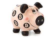 De bank van Piggybitcoin die op witte achtergrond wordt geïsoleerd Stock Foto's