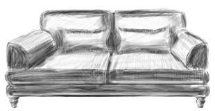 De bank vastgesteld perspectief van de schetslijn van een binnenlandse ruimte vector illustratie