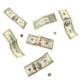 De bankbiljetten en de muntstukken van de dollar Stock Foto