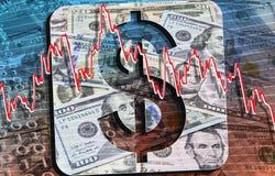 De bankbiljetten en de muntstukken van USD royalty-vrije stock afbeeldingen