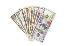 De bankbiljetten van de dollar die op witte achtergrond worden geïsoleerdn Stock Fotografie