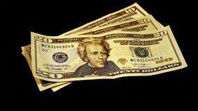 De bankbiljetten van de dollarsrekeningen van het contant geldgeld Stock Afbeelding