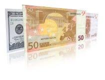 De bankbiljetten van de euro en van de dollar Stock Afbeeldingen