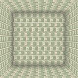 De bankbiljetten van de V.S. binnen de kubus. Stock Foto