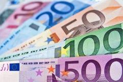 De bankbiljetten van het eurogeld Stock Foto's