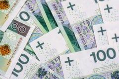 De bankbiljetten 100 van PLN (zloty poetsmiddel) Royalty-vrije Stock Afbeelding
