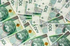 De bankbiljetten 100 van PLN (zloty poetsmiddel) Stock Afbeelding