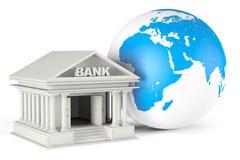 De bankbouw met Aardebol Stock Afbeeldingen