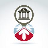 De bankbouw met pijlen vectorpictogram, bedrijfssymbool Stock Afbeeldingen