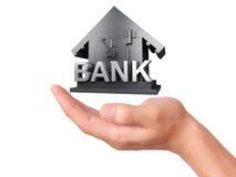 De Bankbrandkast van de handholding op witte Achtergrond Stock Fotografie