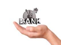 De Bankbrandkast van de handholding op witte Achtergrond Royalty-vrije Stock Afbeeldingen