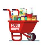 De bankdankzegging van de voedselaandrijving en de schenkings vectorconcept van de Kerstmisvakantie Kruiwagen met ingeblikte goed vector illustratie