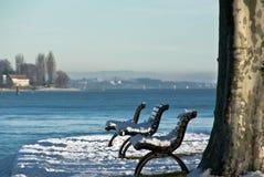 De banken van de oever van het meer met sneeuw Royalty-vrije Stock Foto's
