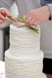 De banketbakker verfraait witte huwelijkscake stock afbeelding