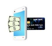De banktransformatie van de geldnota door smartphone aan creditcard Stock Foto's