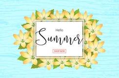 De banner of de affiche van de zomerbloemen voor de gebeurtenis van de vakantieverkoop met blo vector illustratie